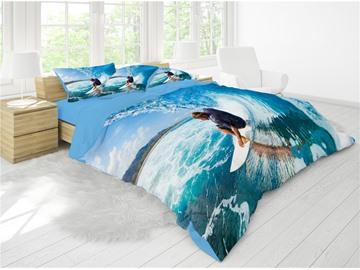 3D Cool Surfing Reactive Printing Cotton 4-Piece Bedding Sets/ Duvet Cover Sets