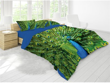 3D A Peacock in His Pride Reactive Printing Cotton 4-Piece Bedding Sets/ Duvet Cover Sets