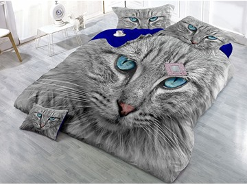 Grey Cat with Blue Eyes Wear-resistant Breathable High Quality 60s Cotton 4-Piece 3D Bedding Sets