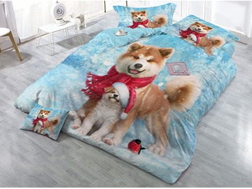 Smiling Dogs and Snow Printing Cotton 4-Piece 3D Bedding Sets/Duvet Covers