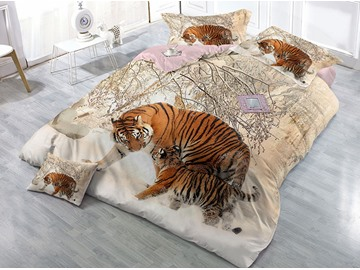 Tigers and Snow Wear-resistant Breathable High Quality 60s Cotton 4-Piece 3D Bedding Sets