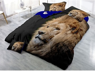 Lion Head Wear-resistant Breathable High Quality 60s Cotton 4-Piece 3D Bedding Sets