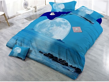 Blue Sea and Moon Printing 4-Piece 3D Bedding Sets/Duvet Covers
