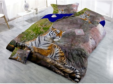 Lying Tiger Wear-resistant Breathable High Quality 60s Cotton 4-Piece 3D Bedding Sets
