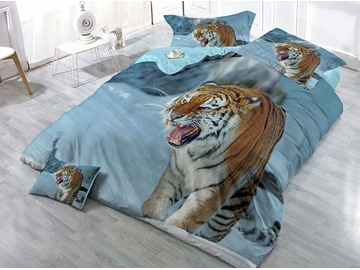 Wild Tiger Wear-resistant Breathable High Quality 60s Cotton 4-Piece 3D Bedding Sets