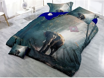 Elephant and Sunshine Forest Wear-resistant Breathable High Quality 60s Cotton 4-Piece 3D Bedding Sets