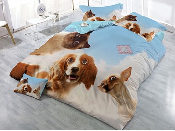 Cats Dogs Looking at You Wear-resistant Breathable High Quality 60s Cotton 4-Piece 3D Bedding Sets