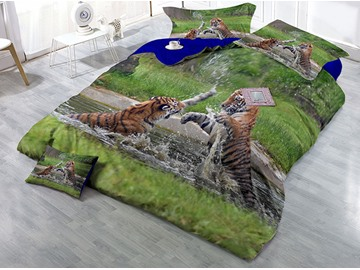 Two Tigers Playing in the Water Wear-resistant Breathable High Quality 60s Cotton 4-Piece 3D Bedding Sets