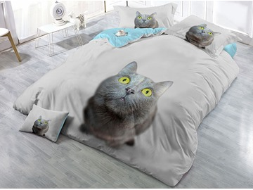 Grey Cat with Yellow Eyes Wear-resistant Breathable High Quality 60s Cotton 4-Piece 3D Bedding Sets