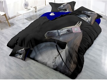 White Horse Wear-resistant Breathable High Quality 60s Cotton 4-Piece 3D Bedding Sets