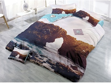 Mountain and River Natural Scenery Printed Cotton 4-Piece 3D Bedding Sets/Duvet Covers