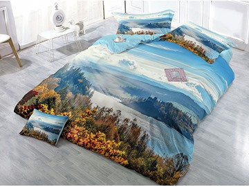 River and Mountain Natural Scenery Wear-resistant Breathable High Quality 60s Cotton 4-Piece 3D Bedding Sets
