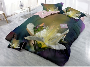 Elegant Blooming Flower Wear-resistant Breathable High Quality 60s Cotton 4-Piece 3D Bedding Sets