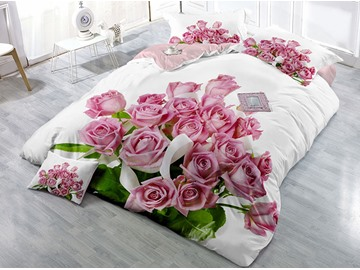 A Bouquet of Pink Roses Wear-resistant Breathable High Quality 60s Cotton 4-Piece 3D Bedding Sets
