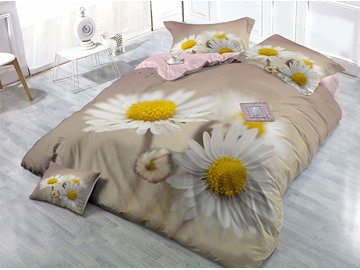 White Daisies Wear-resistant Breathable High Quality 60s Cotton 4-Piece 3D Bedding Sets