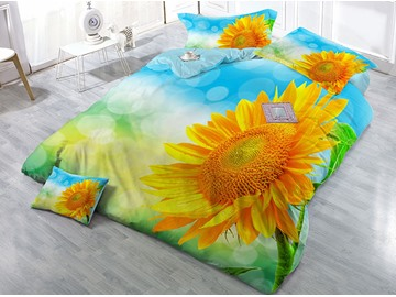 Splendid Sunflower Printed Cotton 4-Piece 3D Yellow Bedding Sets/Duvet Covers