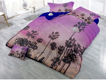 Tree Shadow Purple Printed Cotton 4-Piece 3D Bedding Sets/Duvet Covers