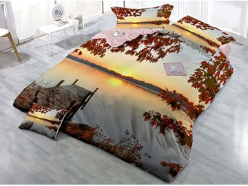 Bridge and Lake Maple Leaves Wear-resistant Breathable High Quality 60s Cotton 4-Piece 3D Bedding Sets