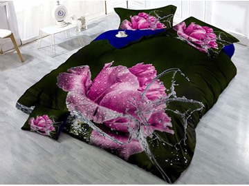 Fresh Pink Rose and Water Butterfly Wear-resistant Breathable High Quality 60s Cotton 4-Piece 3D Bedding Sets