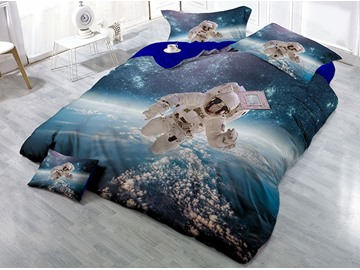 Astronaut and Outer Space Wear-resistant Breathable High Quality 60s Cotton 4-Piece 3D Bedding Sets