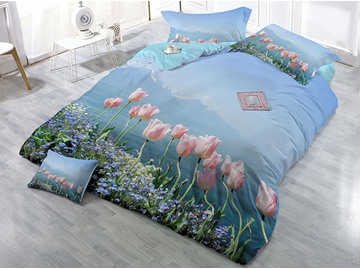 Pink and Purple Floral Wear-resistant Breathable High Quality 60s Cotton 4-Piece 3D Bedding Sets