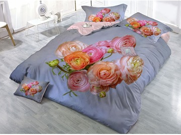 Beautiful Roses Wear-resistant Breathable High Quality 60s Cotton 4-Piece 3D Bedding Sets