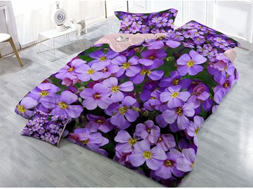 Purple Blooming Flowers Wear-resistant Breathable High Quality 60s Cotton 4-Piece 3D Bedding Sets