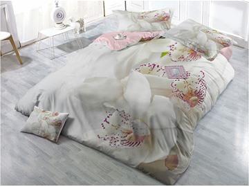 White Michelia Alba Wear-resistant Breathable High Quality 60s Cotton 4-Piece 3D Bedding Sets