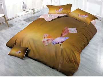 Simple Butterfly Wear-resistant Breathable High Quality 60s Cotton 4-Piece 3D Bedding Sets