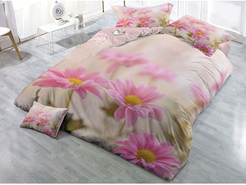 Wrinkle Resistant And Anti-Allergic Cotton 4-Piece 3D Daisies Printed Bedding Sets