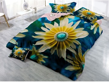 Yellow Chrysanthemum Wear-resistant Breathable High Quality 60s Cotton 4-Piece 3D Bedding Sets
