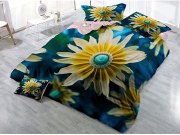 Skin-friendly Luxury Cotton 4-Piece 3D Vigorous Daisy Bedding Sets