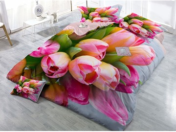 Pink Tulip Wear-resistant Breathable High Quality 60s Cotton 4-Piece 3D Bedding Sets