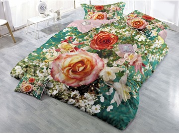 Blooming Roses In The Garden Wear-resistant Breathable High Quality 60s Cotton 4-Piece 3D Bedding Sets
