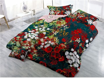 Red Flowers Wear-resistant Breathable High Quality 60s Cotton 4-Piece 3D Bedding Sets