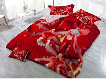 Red Floral Wear-resistant Breathable High Quality 60s Cotton 4-Piece 3D Bedding Sets