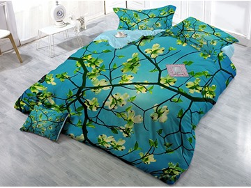 Green Pear Flower Soft Wear-resistant Breathable High Quality 60s Cotton 4-Piece 3D Bedding Sets