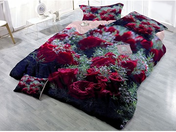 Red Rose Wear-resistant Breathable High Quality 60s Cotton 4-Piece 3D Bedding Sets