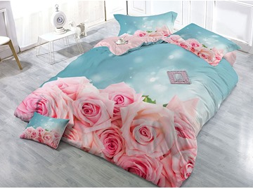 Pink Roses Wear-resistant Breathable High Quality 60s Cotton 4-Piece 3D Bedding Sets