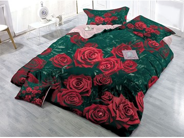 Wild Red Roses Wear-resistant Breathable High Quality 60s Cotton 4-Piece 3D Bedding Sets