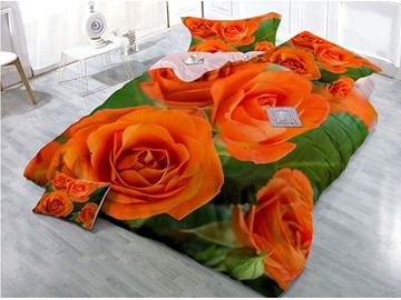 Full Blooming Orange Rose Printed Cotton 4-Piece 3D Bedding Sets/Duvet Covers