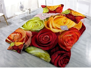 Passionate Roses Wear-resistant Breathable High Quality 60s Cotton 4-Piece 3D Bedding Sets