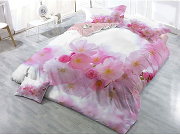 Blooming Pink Peach Blossoms Printed Cotton 4-Piece 3D Bedding Sets/Duvet Covers