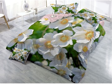 Small Wildflowers Printed Cotton 4-Piece 3D Bedding Sets/Duvet Covers(White or Black)