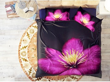 Elegant Purple Flowers Soft Cotton 4-Piece 3D Wildflowers Bedding Sets