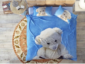 A White Doll Bear Under The Blue Sky Soft Cotton 4-Piece High Quality 3D Bedding Sets