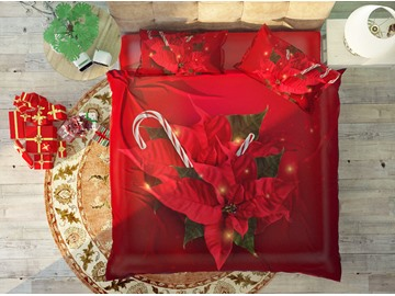Happy Red Christmas Style Soft Cotton 4-Piece High Quality 3D Bedding Sets