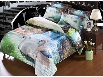 3D White Swans and Waterfall Scenery Printed Polyester 5-Piece Comforter Sets