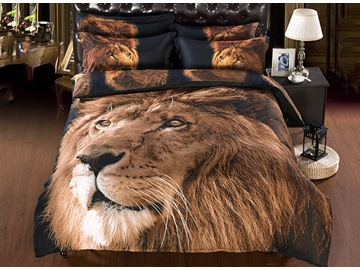 3D Lion Face Printed Polyester 5-Piece Comforter Sets