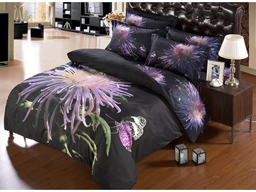 3D Purple Chrysanthemum and Butterfly Printed Polyester 5-Piece Comforter Sets